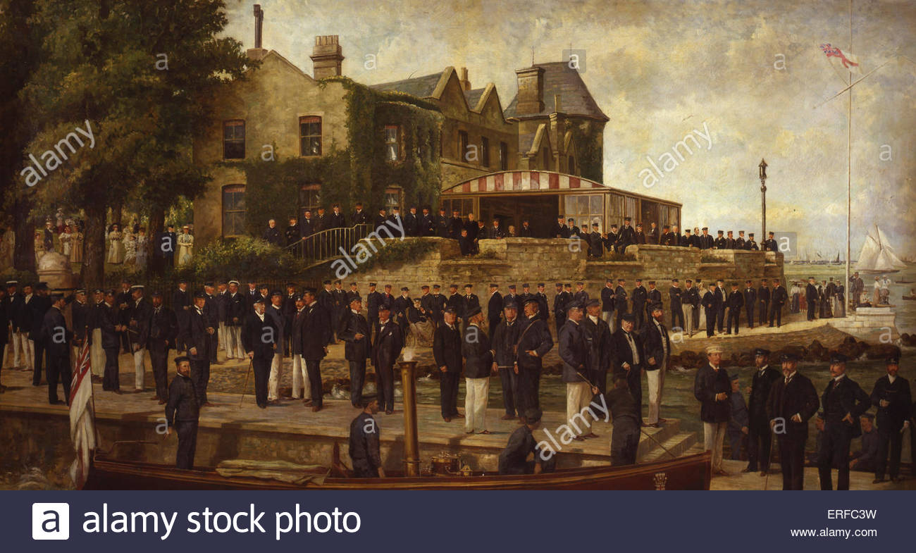 Composite Portrait of Members of the Royal Yacht Squadron, with Edward, Prince of Wales, 1895, by Dickinson and - Stock Image