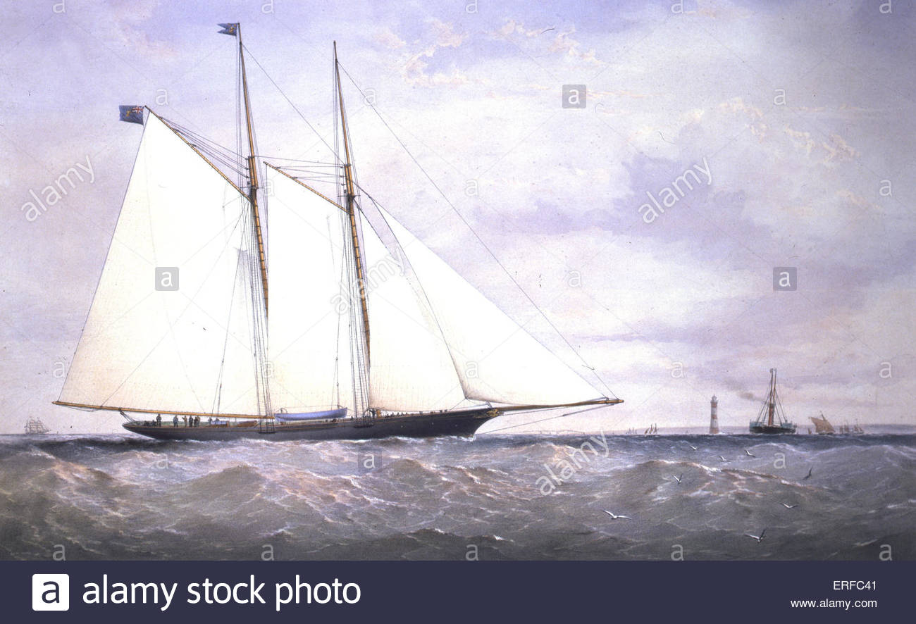 The Livonia, 1871. Lithograph and painted by Dutton. Courtesy of the Royal Thames Yacht Club. - Stock Image