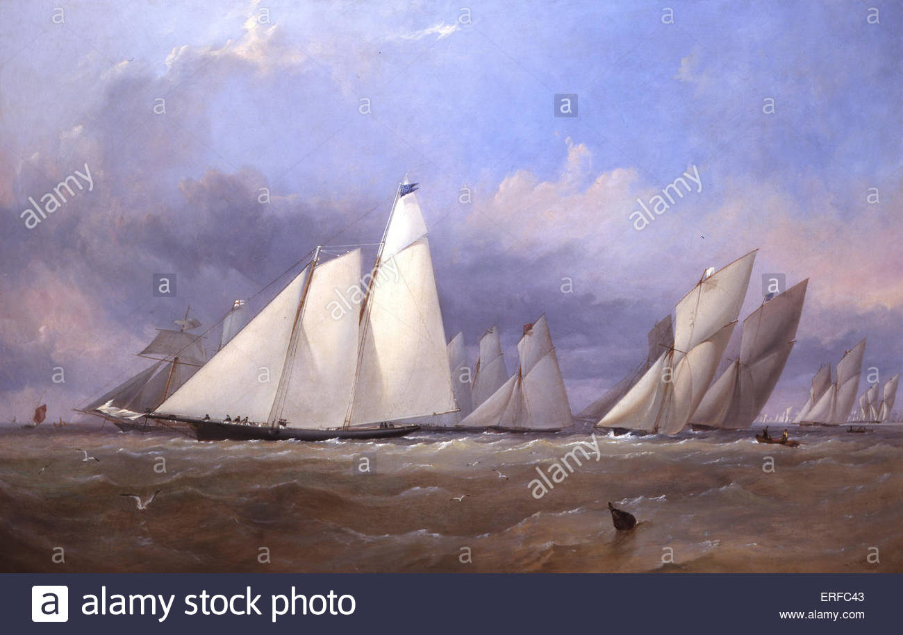 The America at Cowes, 1852, by Robins. Courtesy of the Royal Yacht Squadron, Cowes, Isle of Wight. - Stock Image