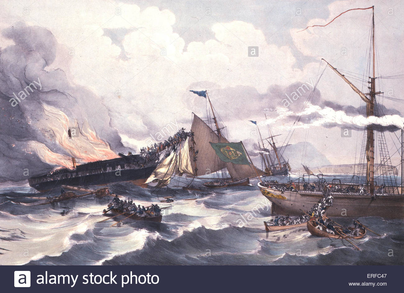 Destruction of the American Emigrant Ship Ocean Monarch, 24 August 1848. Courtesy of The Parker Gallery. - Stock Image
