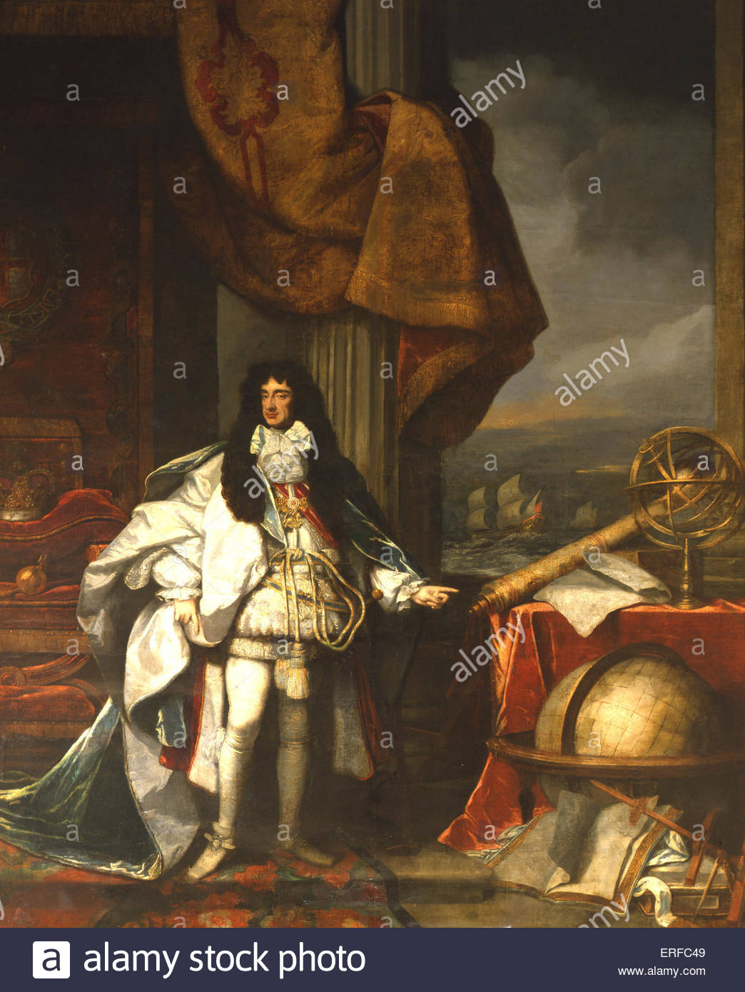 Charles II as President of the Royal Society by Marcellus Laroon, 1684. Courtesy of The Governors of Christ's - Stock Image