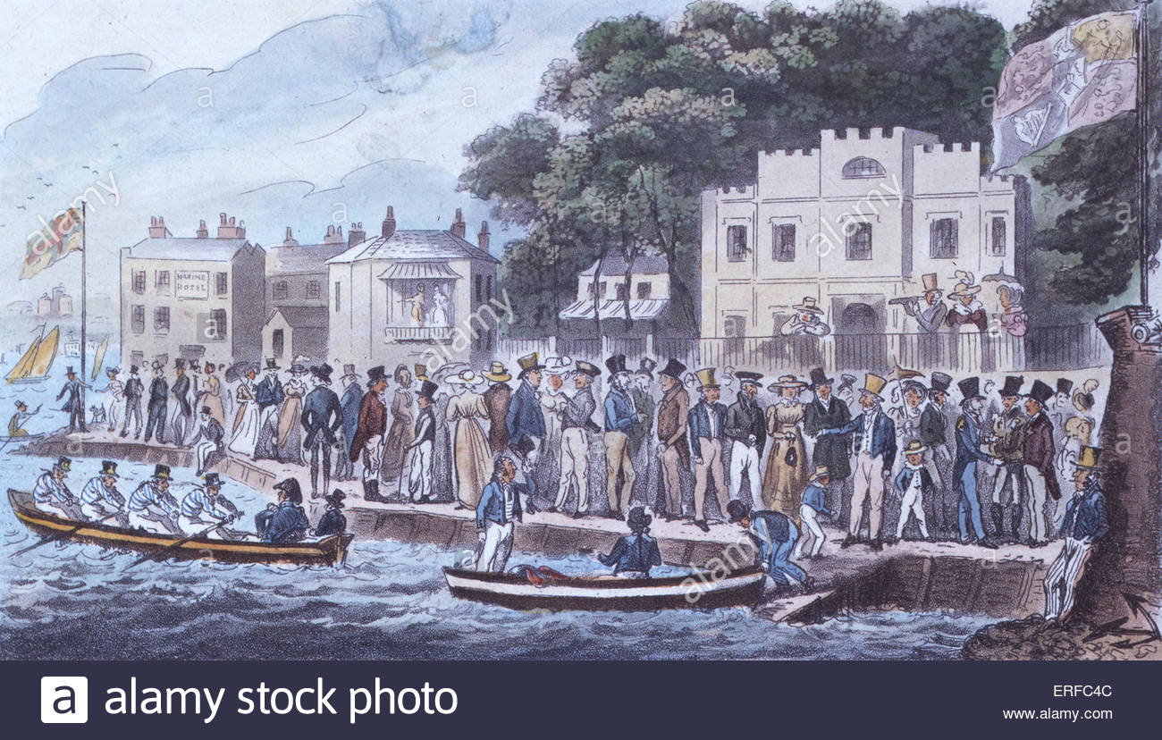 The Promenade at Cowes, cartoon by Robert Cruikshank, 1825. Published by Sherwood and Co. Courtesy of the Royal - Stock Image