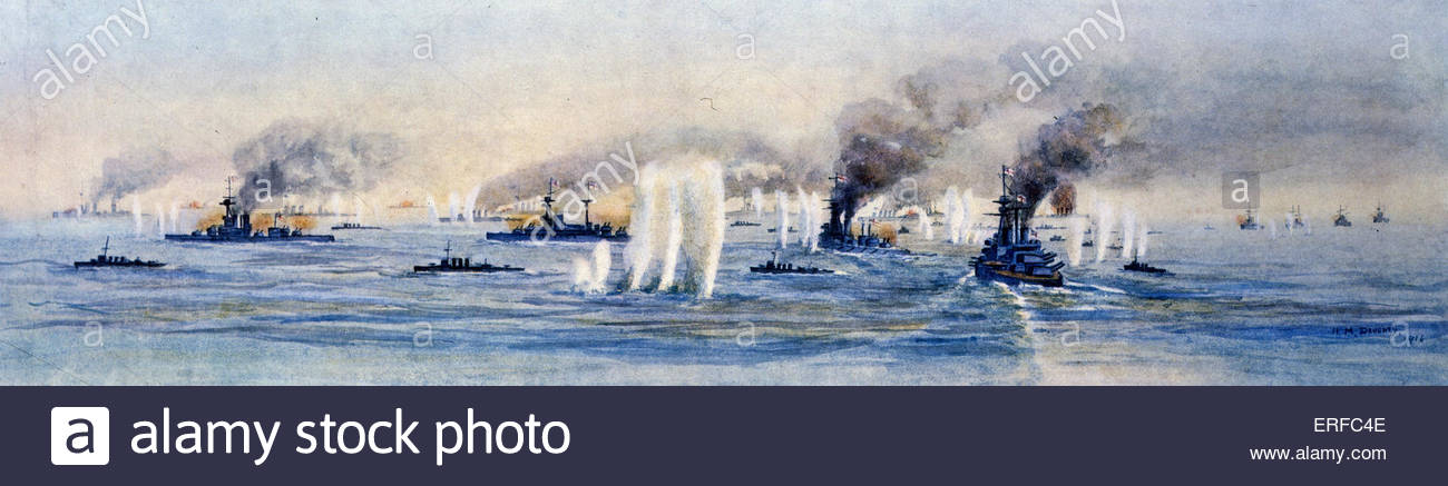 Panorama of the Battle of Jutland, 31st May 1916. Courtesy of the National Maritime Museum, London. - Stock Image