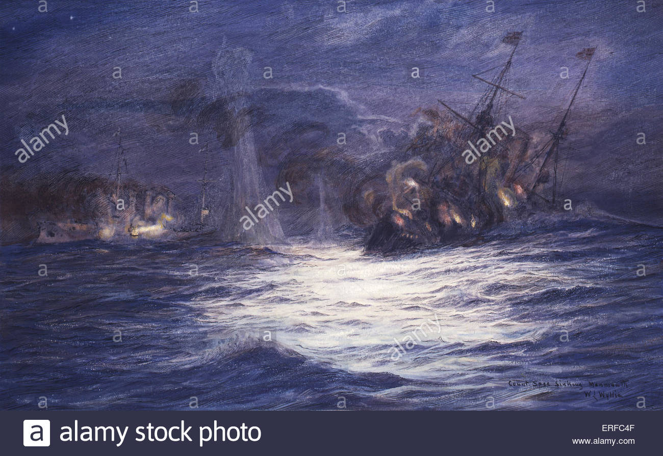 Count Spee Sinking Monmouth at the Battle of Coronel, November 1, 1914, painting by W L Wyllie. Courtesy of the - Stock Image