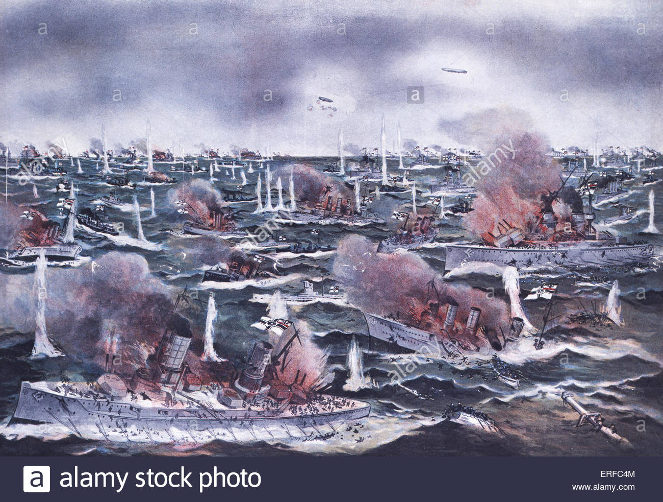 The Battle of Jutland, 31st May 1916. Courtesy of the National Maritime Museum, London. - Stock Image