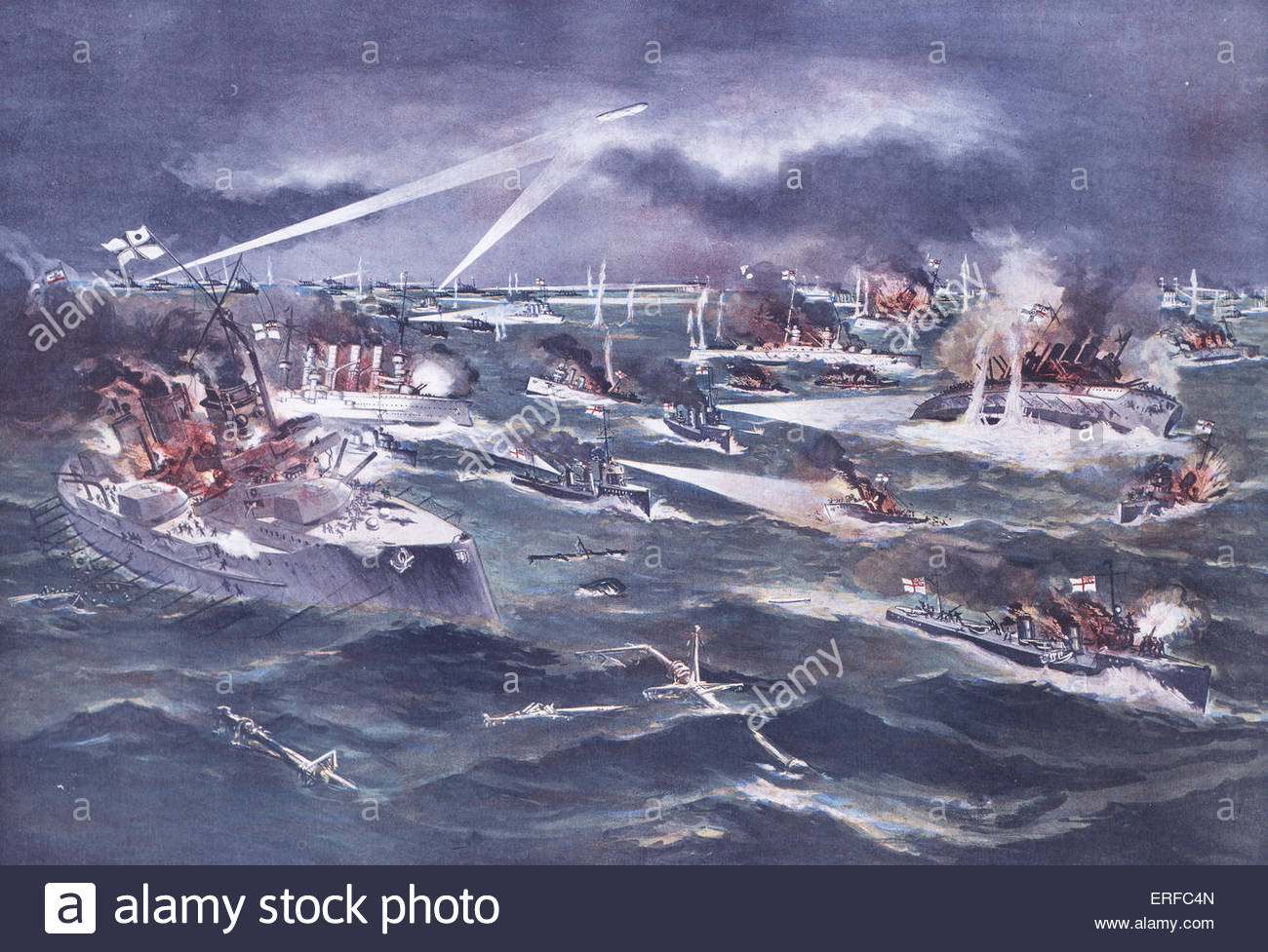 The Battle of Jutland, 31st May - 1st June 1916. Courtesy of the National Maritime Museum, London. - Stock Image