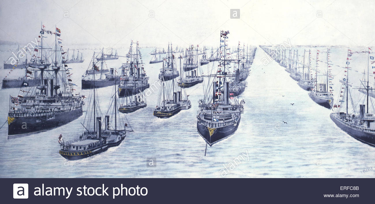 The Naval Review of 1897 Commemorating Queen Victoria's Diamond Jubilee. Courtesy of the National Maritime Museum, - Stock Image