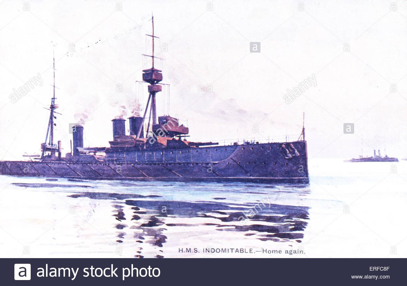 'HMS Indomitable - Home again', early twentieth-century postcard. - Stock Image