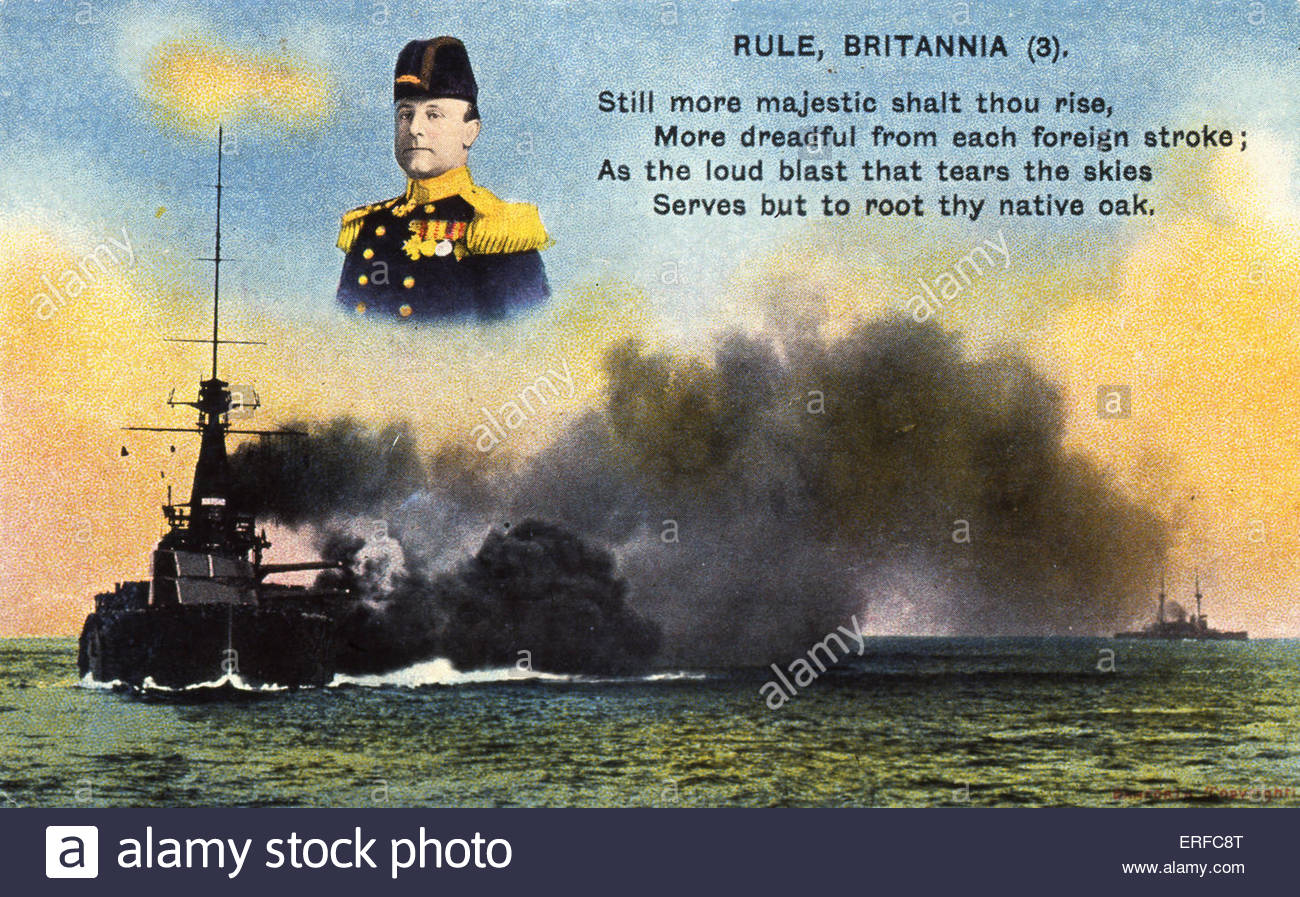 'Rule Britannia (3)', early twentieth century maritime postcard. Shows battleships fighting, bust of admiral - Stock Image