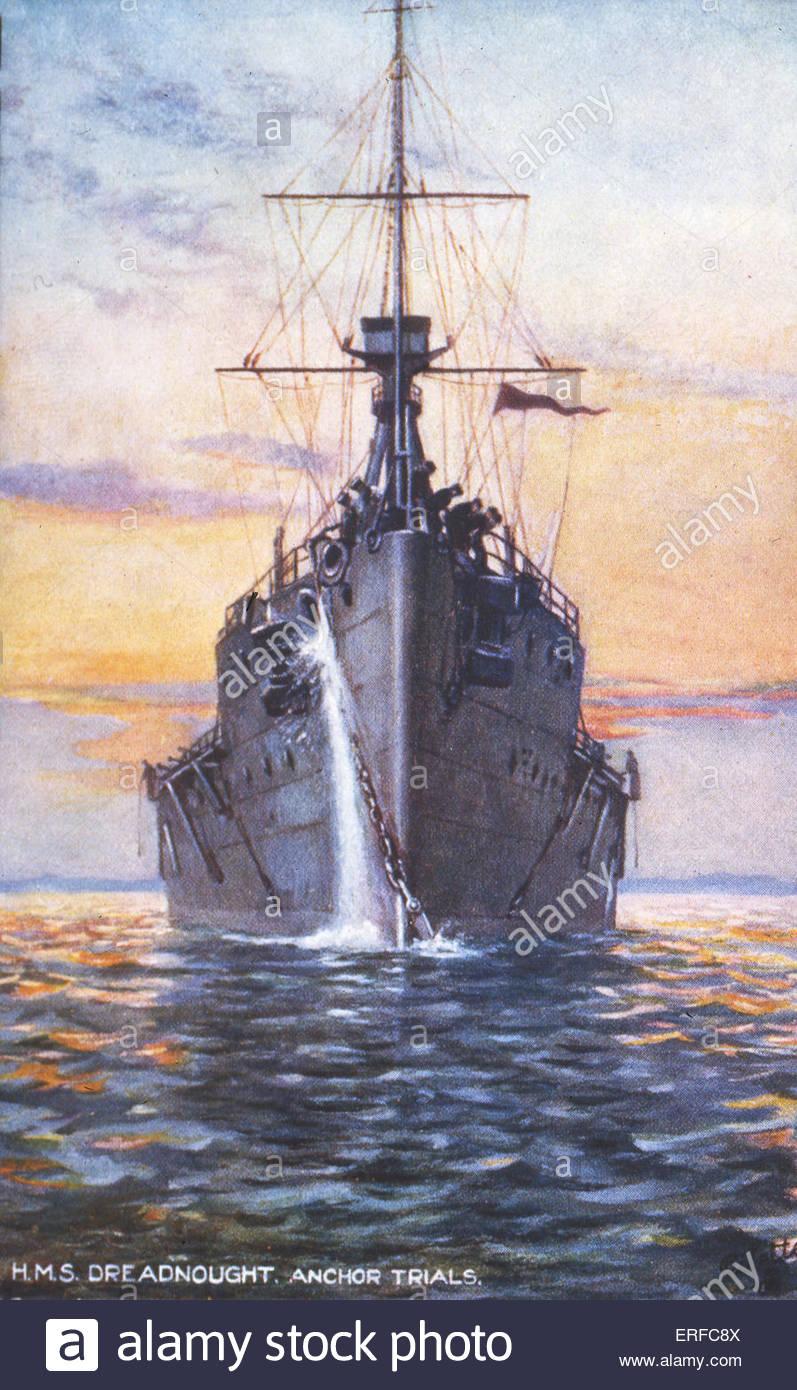 HMS Dreadnought, anchor trials, early twentieth century postcard. - Stock Image