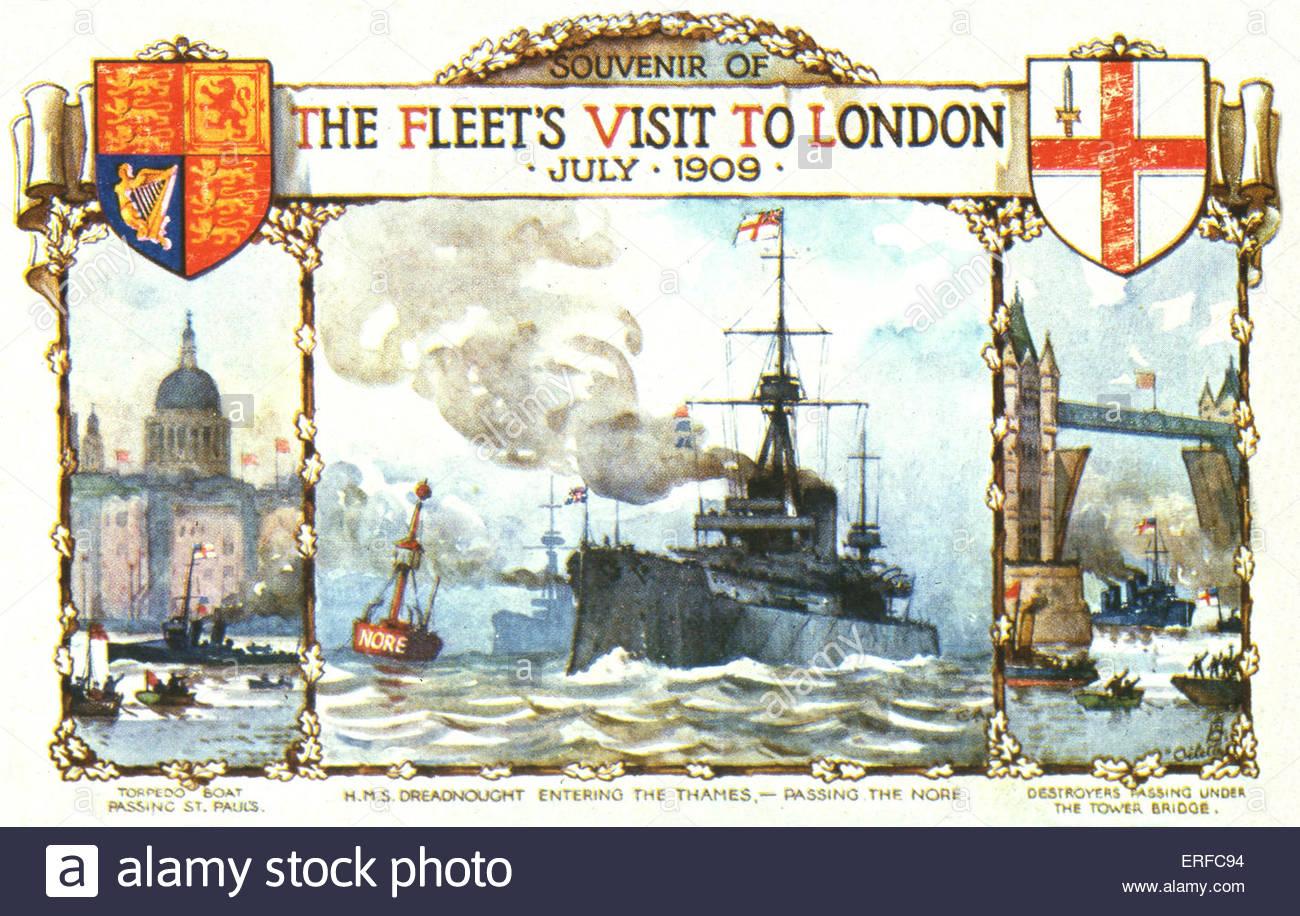 'Souvenir of The Fleet's Visit to London July 1909', early twentieth century navy postcard. Three scenes - Stock Image
