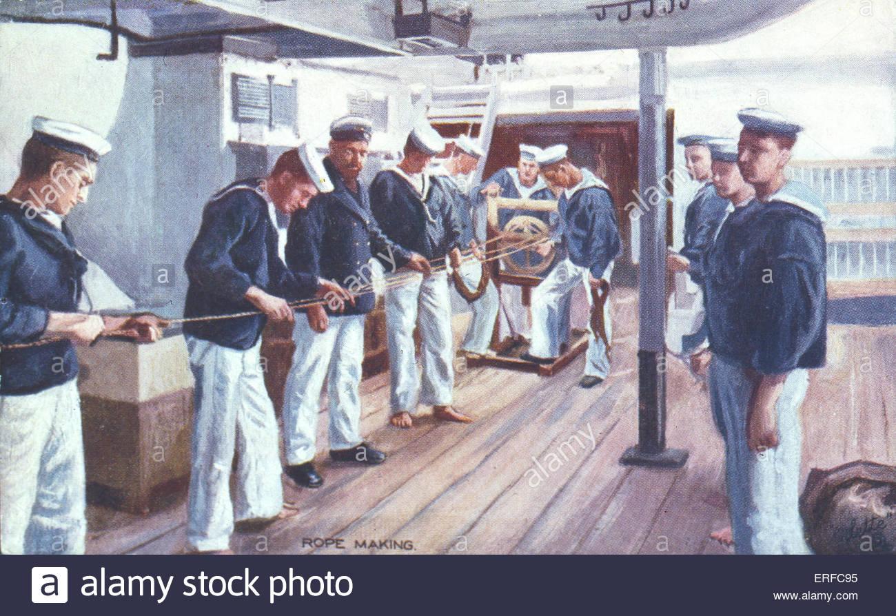 'Rope Making', World War I Royal Navy postcard. - Stock Image