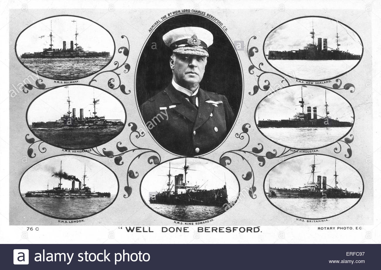 'Well Done Beresford' shows photograph of Admiral Charles William de la Poer Beresford, First Baron Beresford, - Stock Image