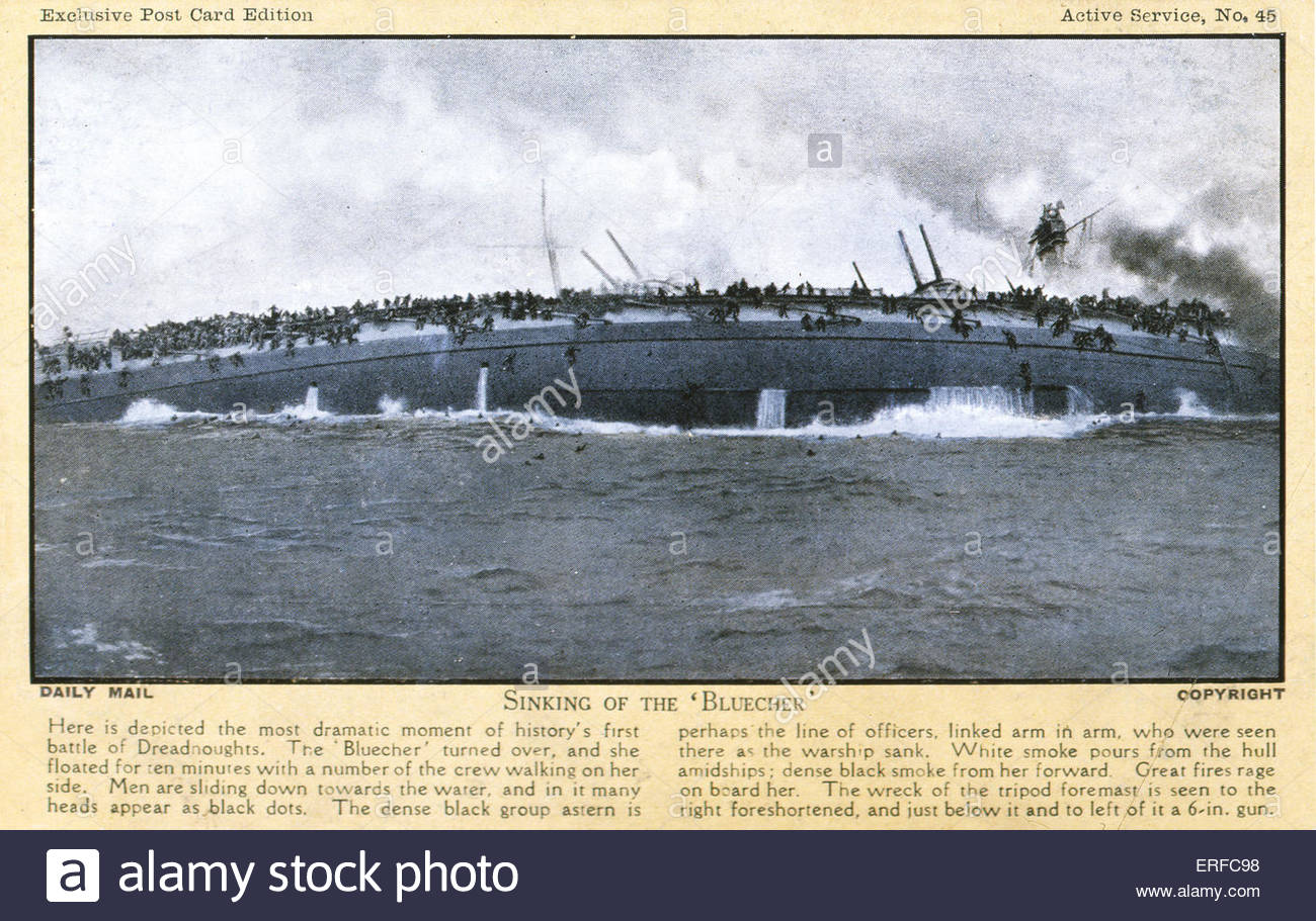 Sinking of the Bluecher, 1915. Early twentieth century maritime postcard. - Stock Image