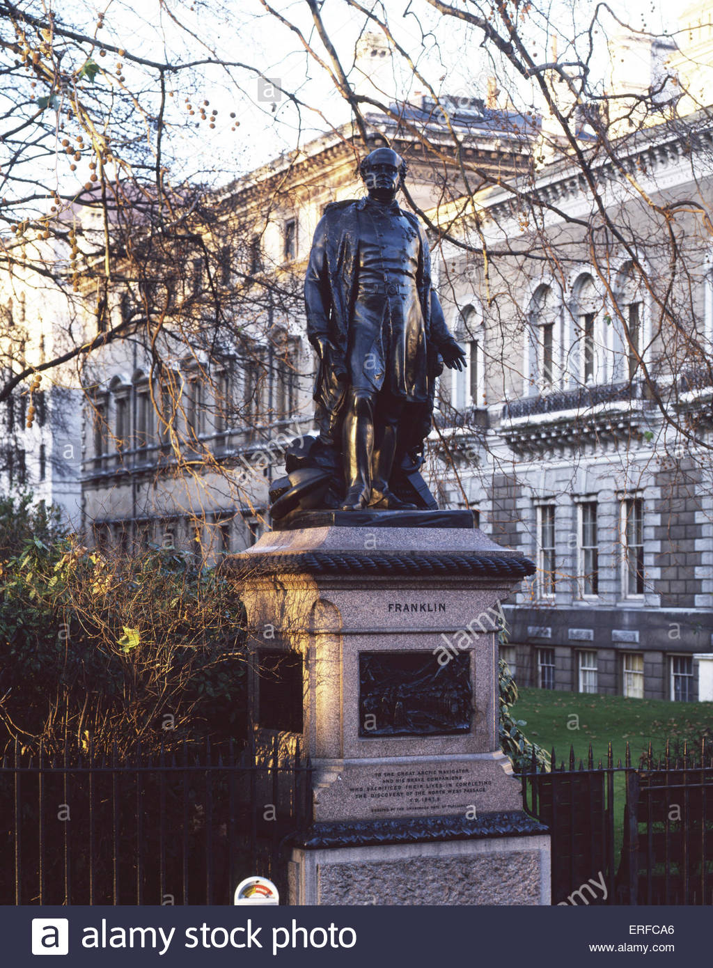 Statue of Sir John Franklin, British Royal Navy Officer and Arctic explorer, who disappeared on his last voyage - Stock Image