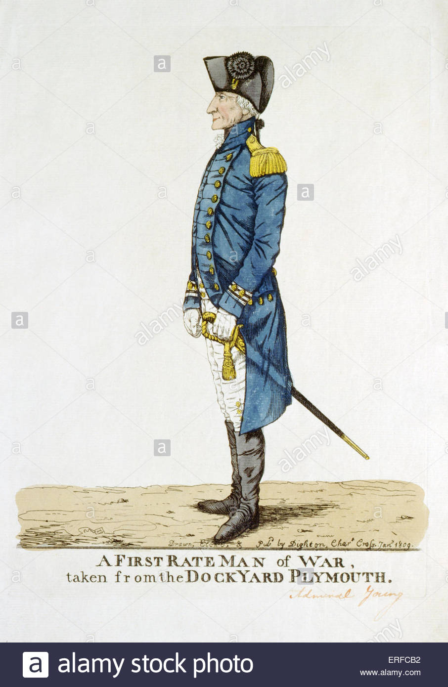 Sir George Young, 'A First Rate Man of War, taken from the Dockyward, Plymouth' drawn, etched and published - Stock Image
