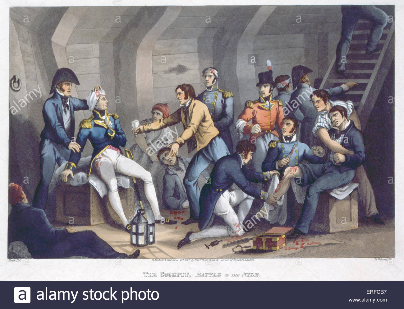 Admiral Lord Nelson in 'The Cockpit, Battle of the Nile'. Published 4th June 1817 by Edward Orme. - Stock Image