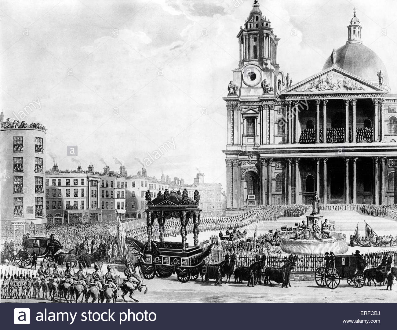 Engraving of Admiral Lord Horatio Nelson 's funeral procession. Engraved by M Mreigot from a drawing from life - Stock Image