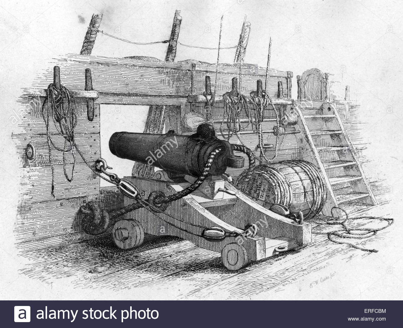 A Brig of War 's 12 pr Carronade, engraved  by Edward William Cooke. Carronades were short-barrel, large-calibre - Stock Image