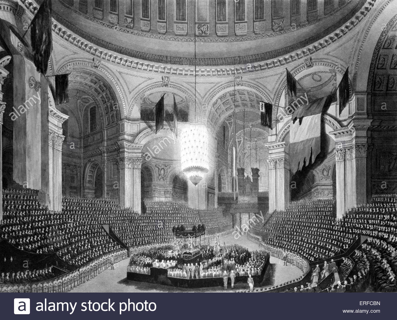 Interment of Lord Viscount Nelson in St Paul's Cathedral, London. Engraved by F C Lewis from a drawing from - Stock Image
