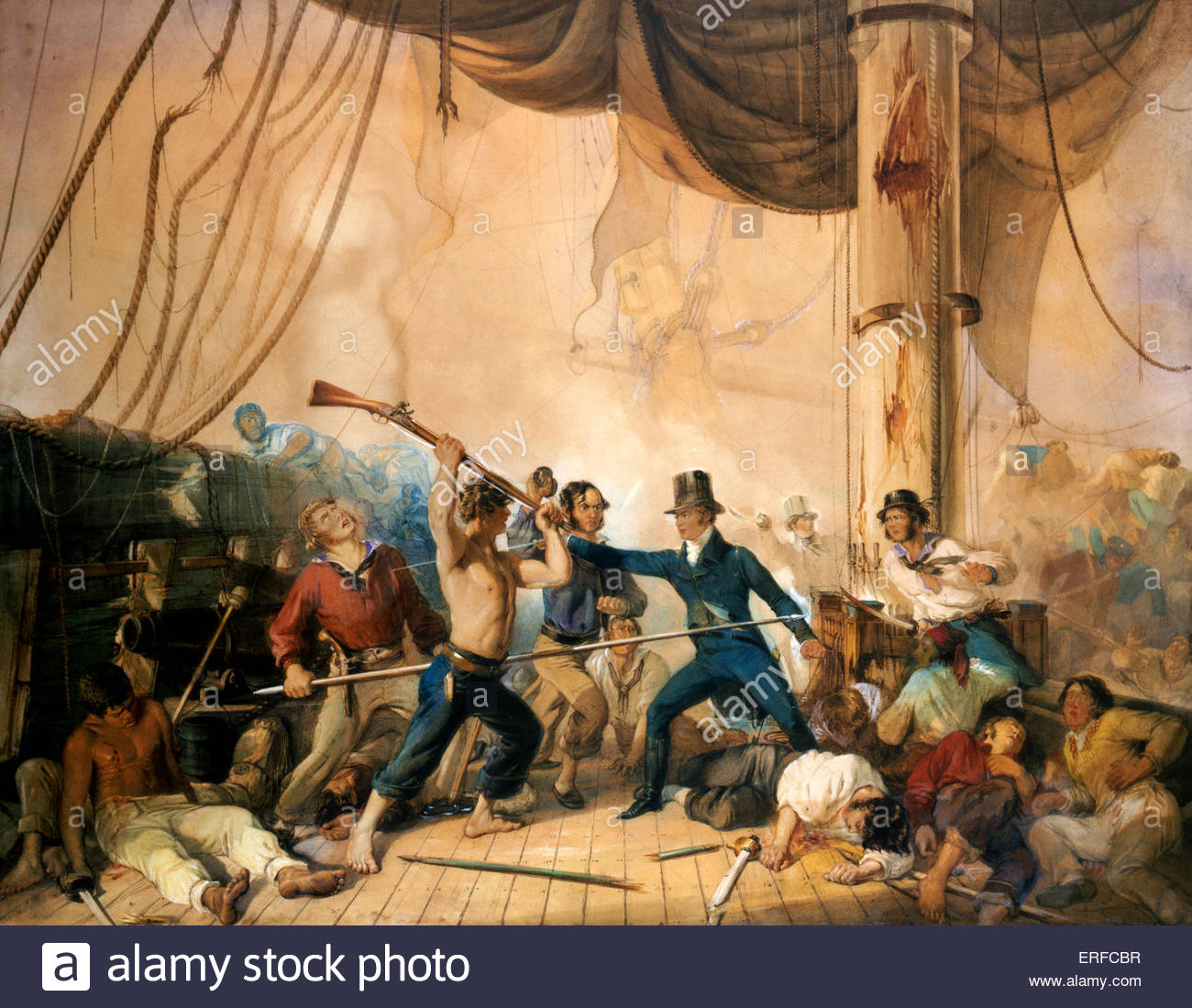 The Melee on the deck of the Chesapeake, 1813. Anonymous artist. Oil painting. - Stock Image