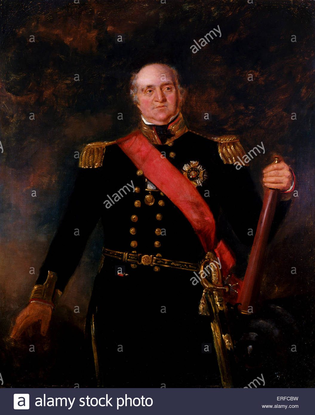 Thomas Masterman Hardy, Royal Navy Officer. Portrait by R C Evans, 1835. Royal Naval Museum Portsmouth. TMH: 5 April - Stock Image