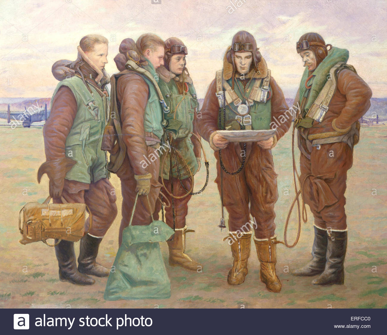 Pilots at Tangmere, 1941, by W Rothenstein - Stock Image