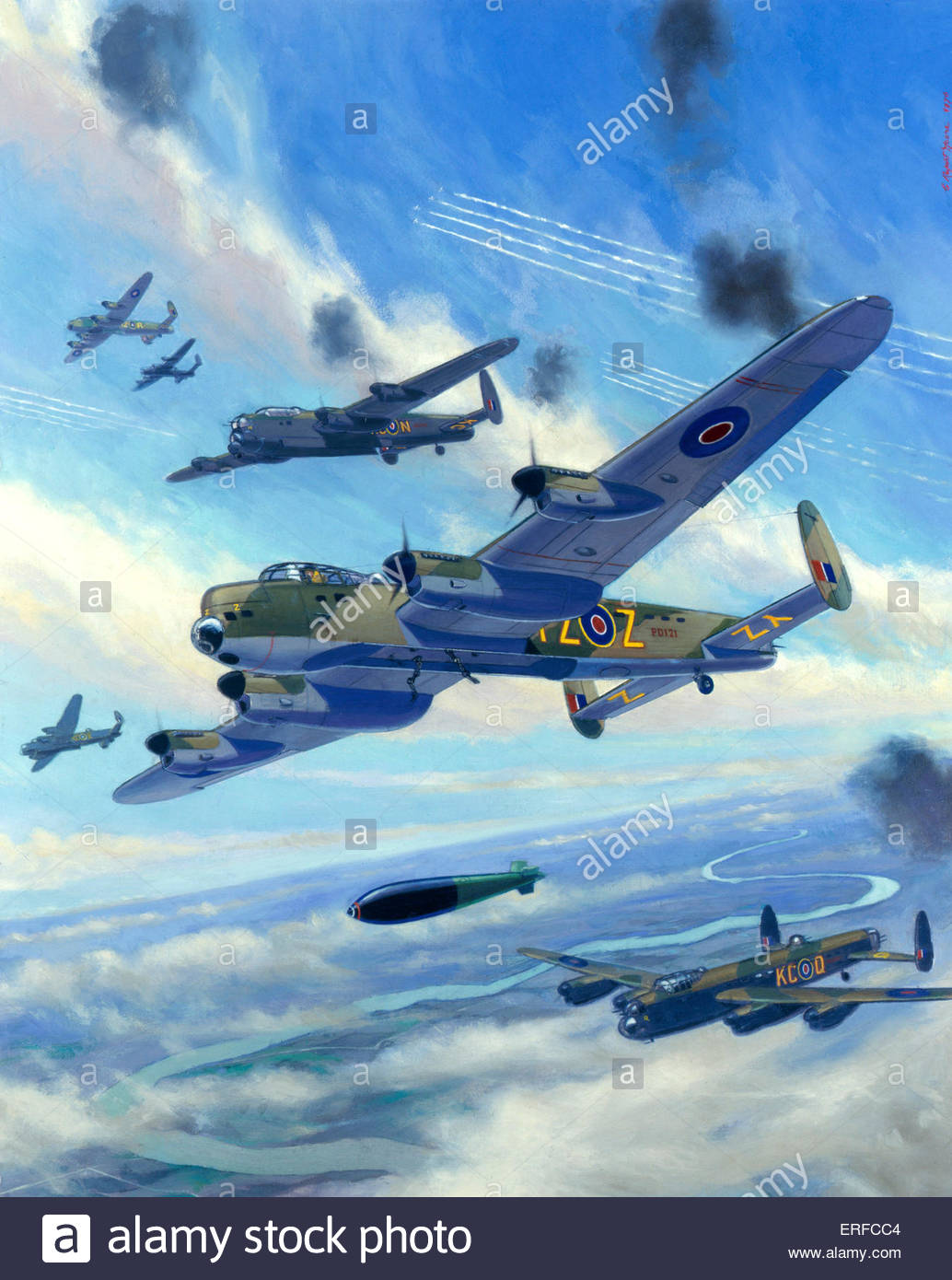 Attack on Arnsberg, 1945 by C Rupert Moore. Royal Air Force Museum, Hendon Stock Photo
