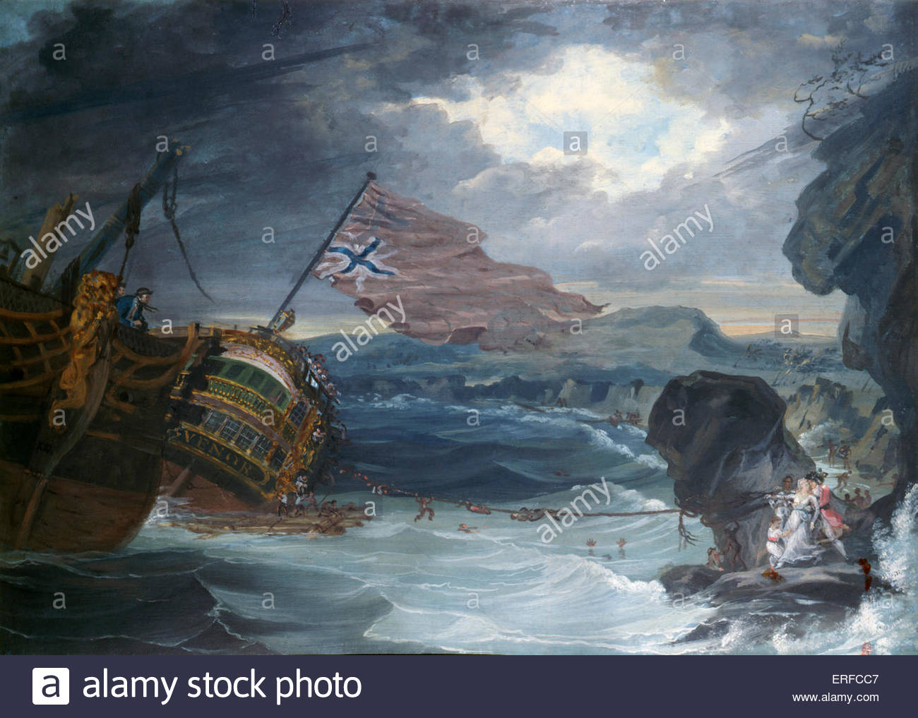 'The Wreck of the Grosvenor', 1782. Gouache by George Carter. Courtesy National Maritime Museum. GC: 1737 - Stock Image