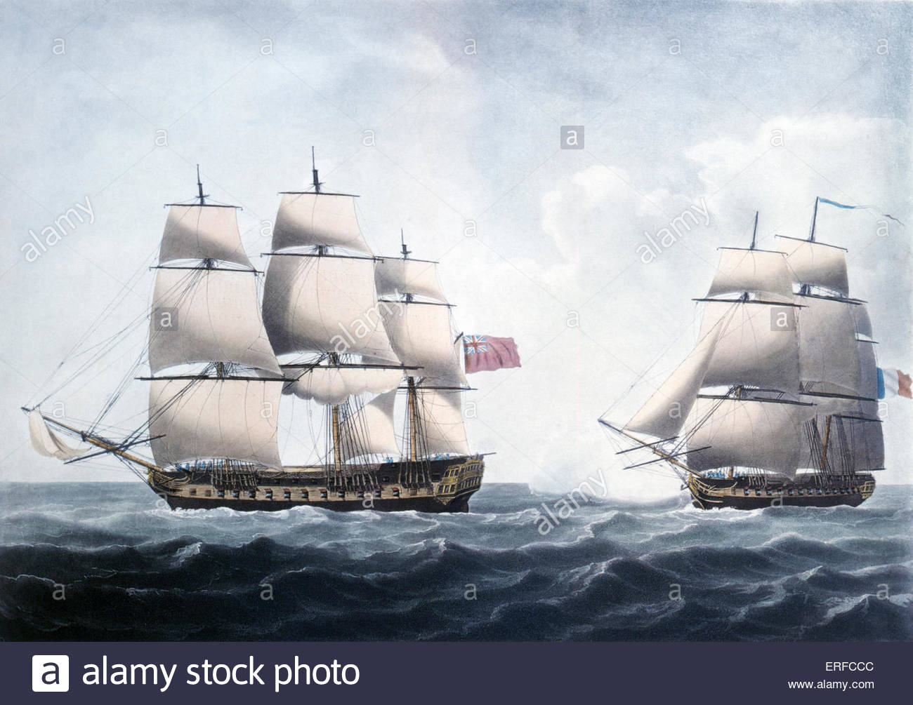 'View of the Hon'ble Company's Ship Warren Hastings a few minutes before her action with La Piemontaise - Stock Image