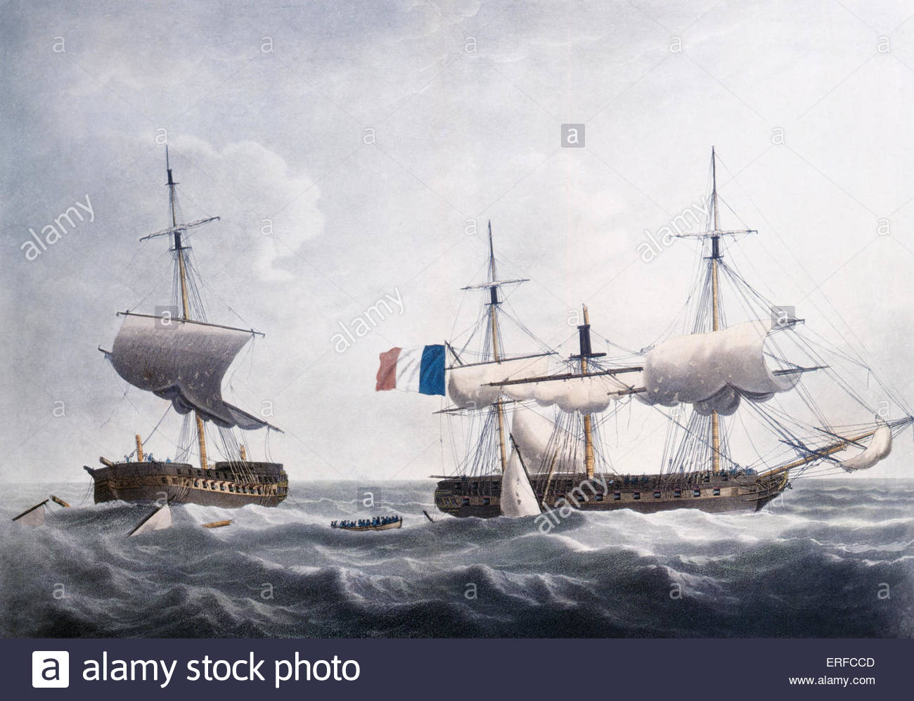 'Situation of the Honourable Company's Ship Warren Hastings after four hours fighting and being compelled - Stock Image