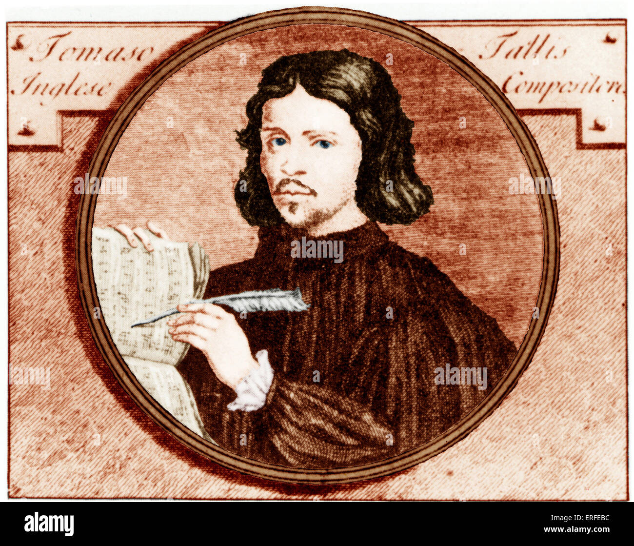 Thomas Tallis writing his music. Engraving by by Van der Gucht c.1700 Coloured version. Entered service of  Queen - Stock Image