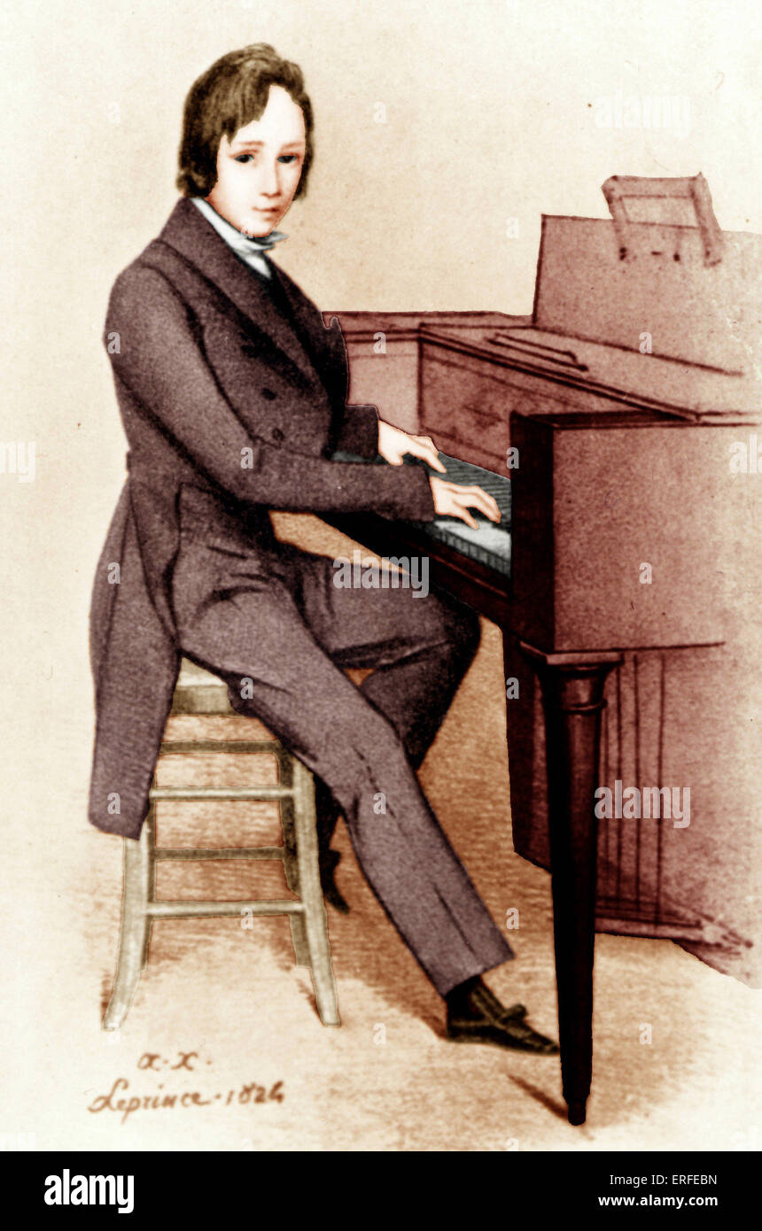 Franz Liszt age 13 sitting at piano by Le Prince, 1824. Hungarian pianist and composer. 22 October 1811 - 31 July - Stock Image
