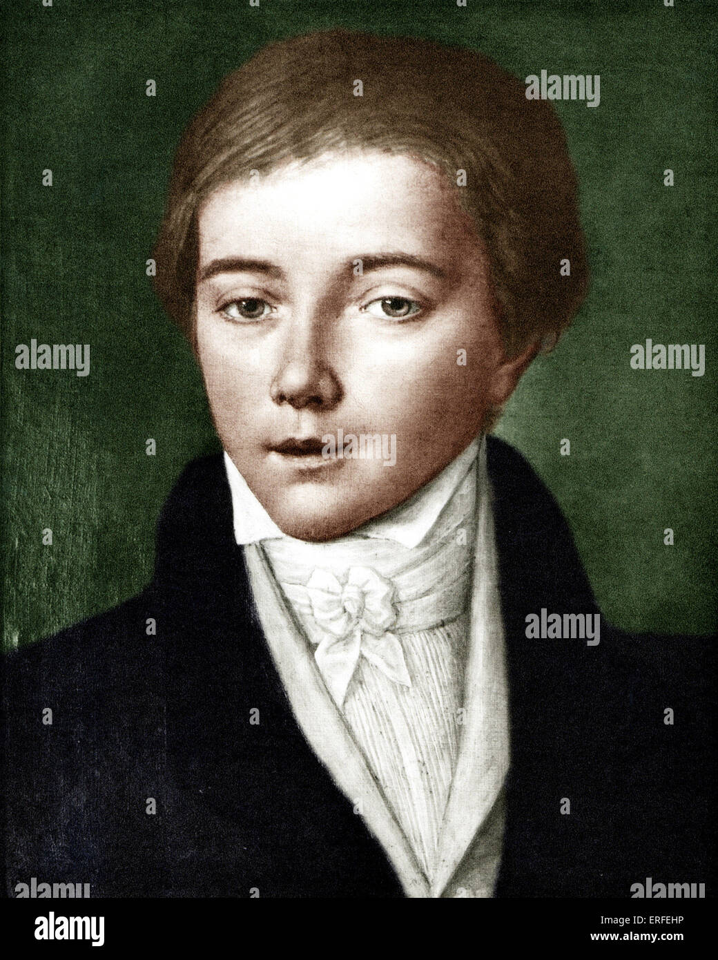 Franz Liszt as  a young man in 1830, aged 19. Oil painting. Hungarian pianist and composer. 22 October 1811 - 31 Stock Photo