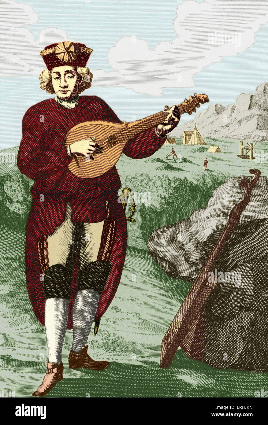 Baroque guitar played by man engraved by J. C. Weigel (1661-1726).  ( The Baroque Guitar has 4 pairs of strings, - Stock Image