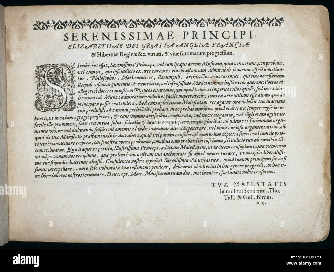 William Byrd and Thomas Tallis' engraved musical titlesheet for 'Cantiones Sacraes'. Tallis: English - Stock Image