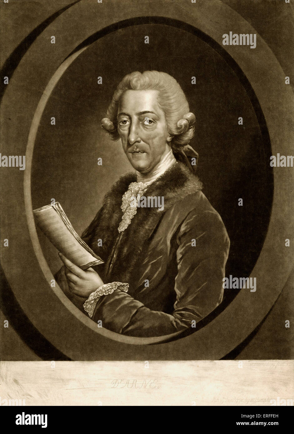 Thomas Augustine Arne - titled 'Dr Arne'.  English Composer 1710-1778   holding a score  , wearing a coat - Stock Image