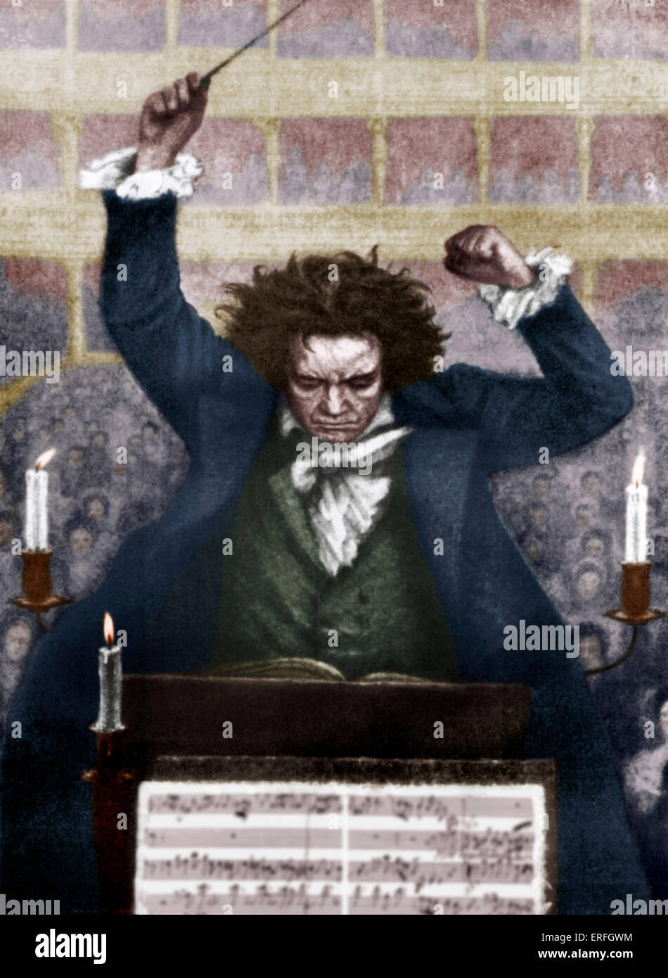 Ludwig van Beethoven conducting with baton - by Katzaroff. German composer, 17 December  1770- 26 March 1827.Stock Photo