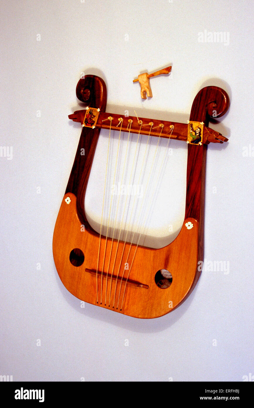 Lyre - stringed musical instrument. - Stock Image