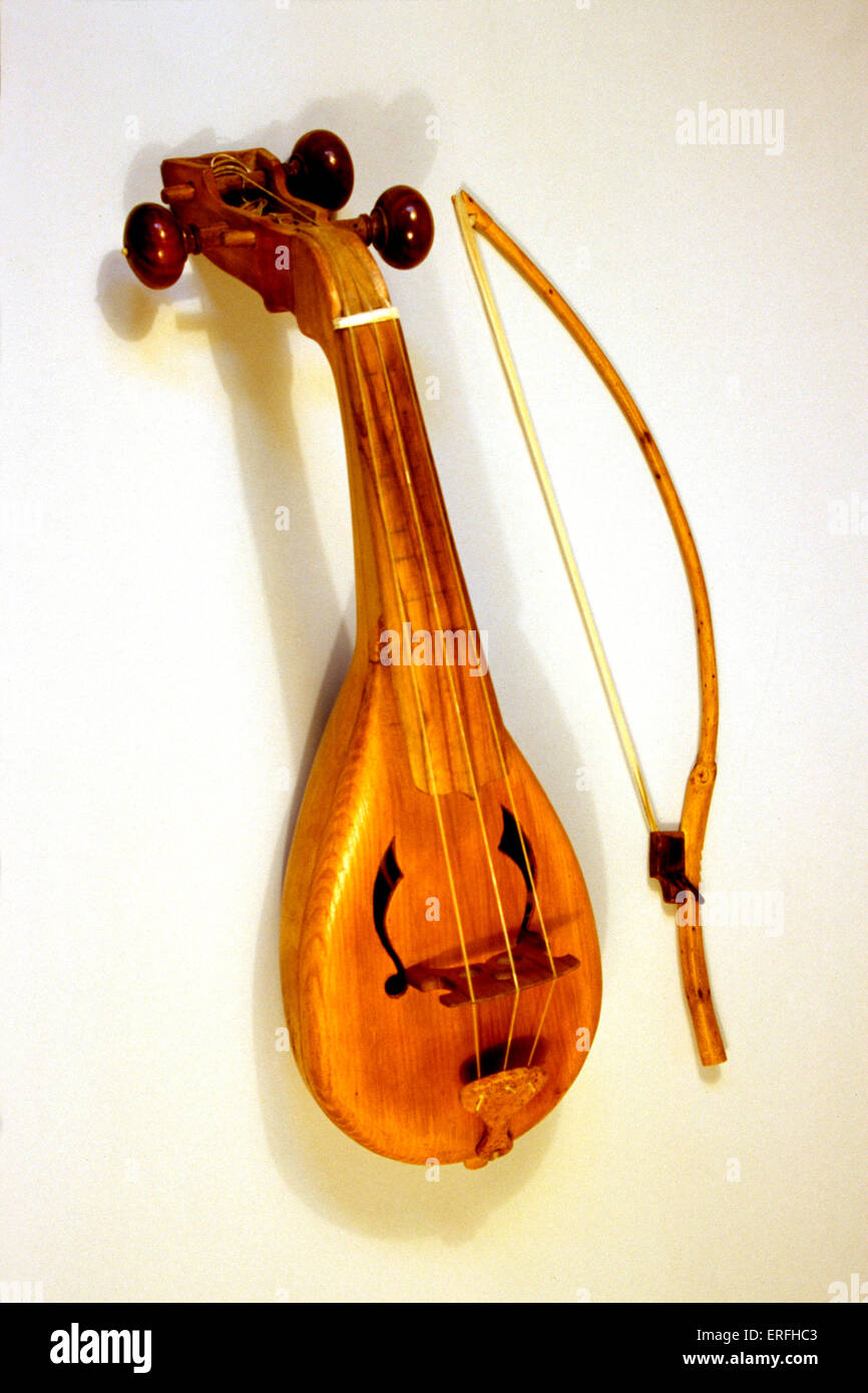 Rebec - medieval bowed string musical instrument. - Stock Image