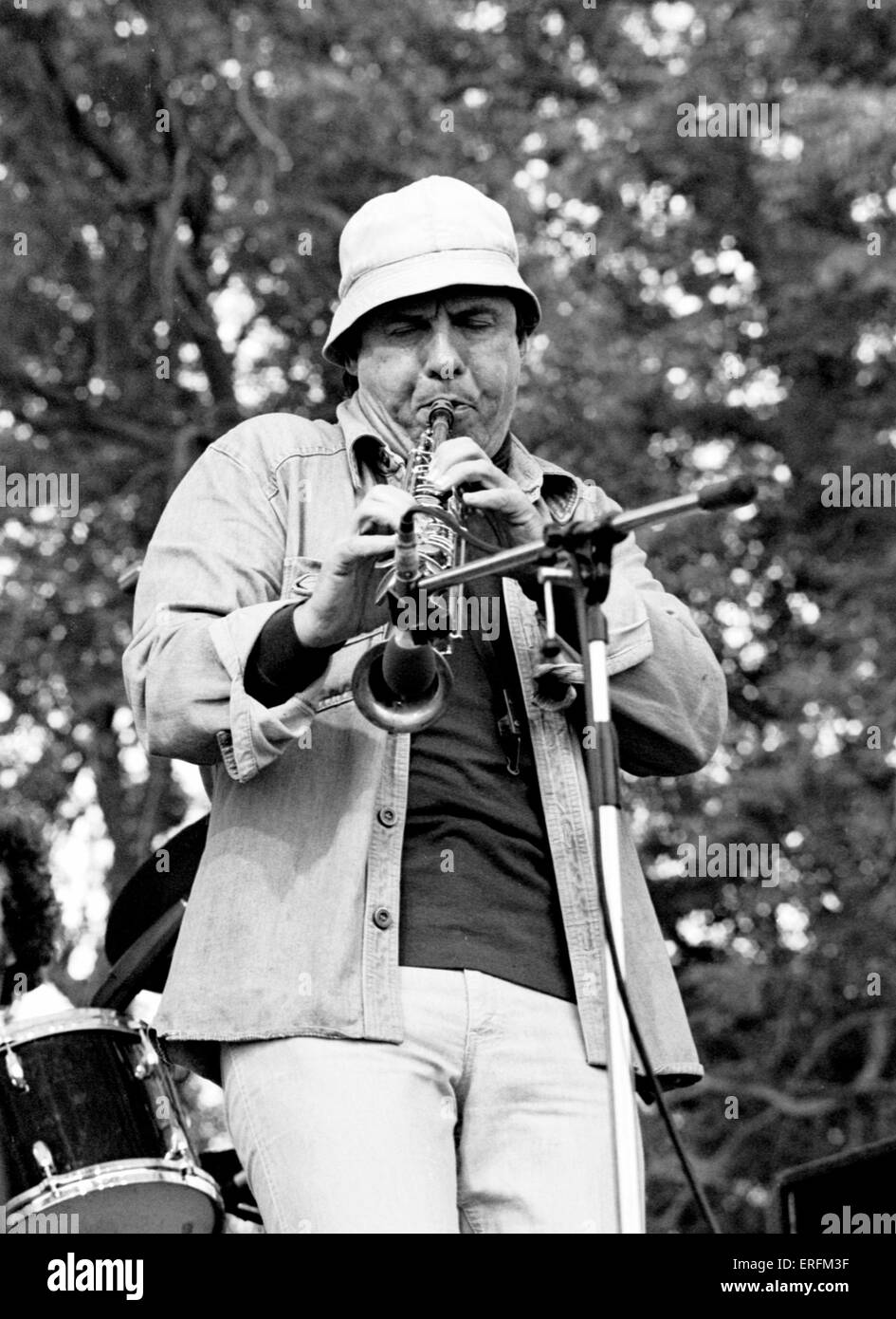 Ira Sullivan - portrait fo the American jazz musician playing the flute at the 1981 Capital Radio Jazz Festival - Stock Image