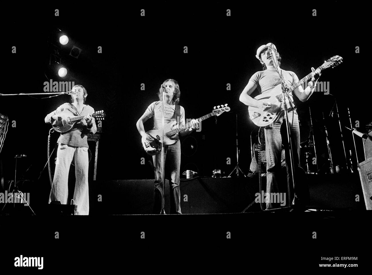 Fairport Convention - band members Dave Swarbrick, Dave Pegg & Simon Nicol performing in London, 1977. Folk - Stock Image