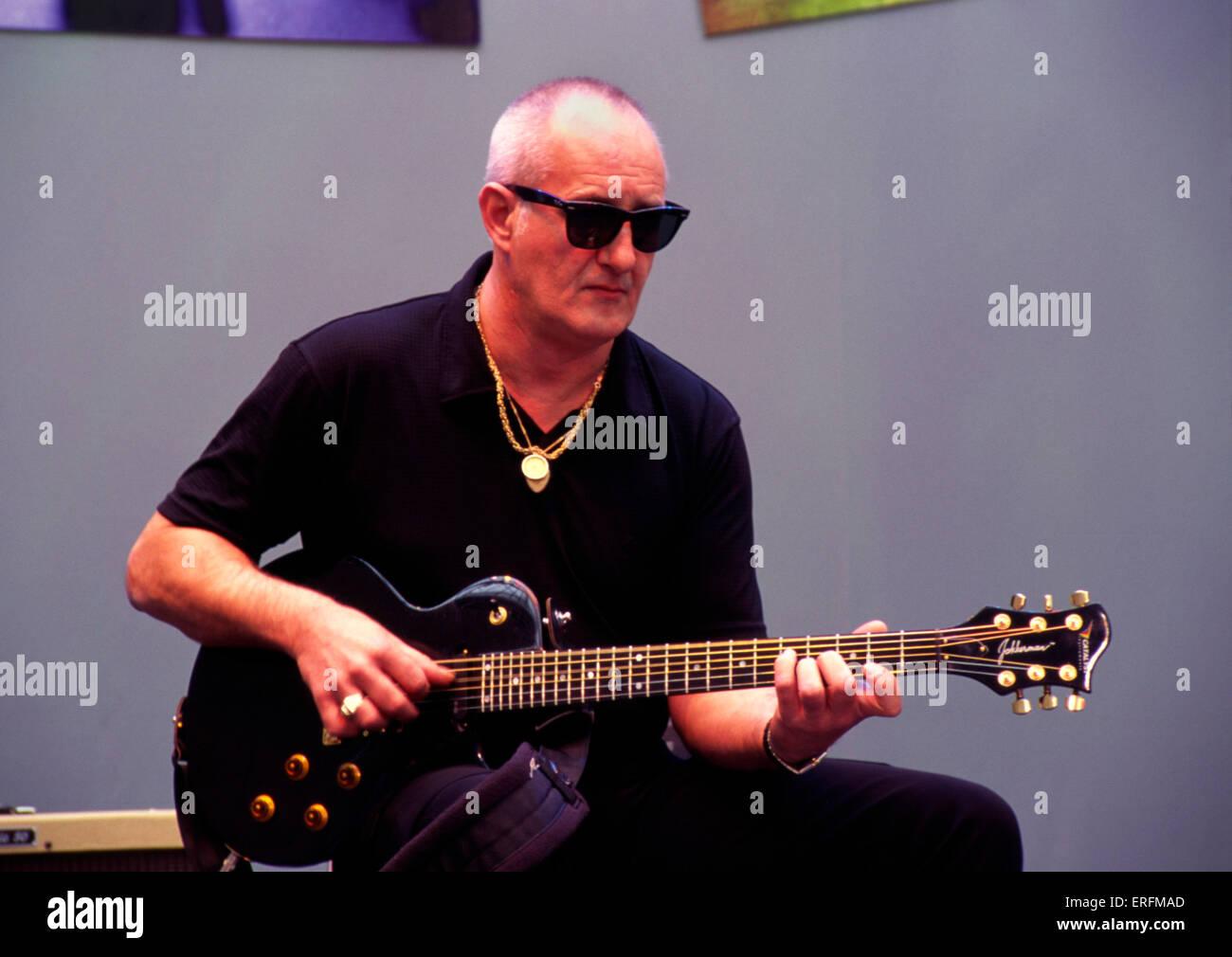 Jan Ackerman - portrait of the Dutch guitarist giving a guitar demo at the 2000 Frankfurt Music Fair, Germany. - Stock Image