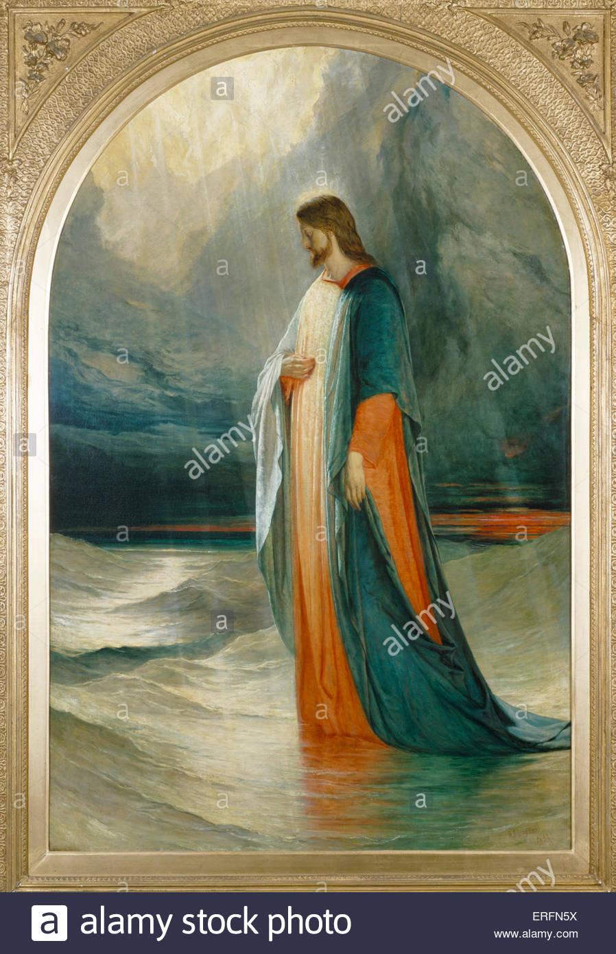 'Jesus went unto them, walking on the sea' - painting by Robert Scott Lauder.  Scottish artist: 1803 - 1869. - Stock Image