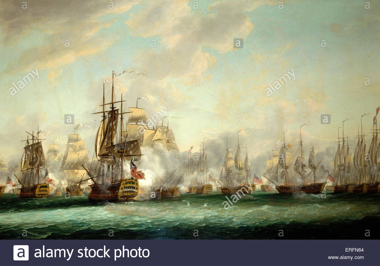 Battle of the Saints by Nicholas Pocock, 1782 Painting (British painter, 1740–1821). Courtesy of the National Maritime - Stock Image
