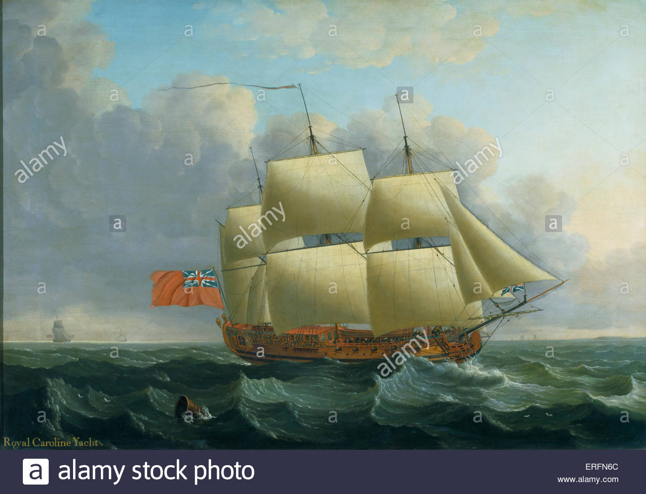 The Royal Caroline 1750  by John Cleveley, 1750 Painting. English painter, 1712–1777.  Oil on canvas.  Courtesy - Stock Image