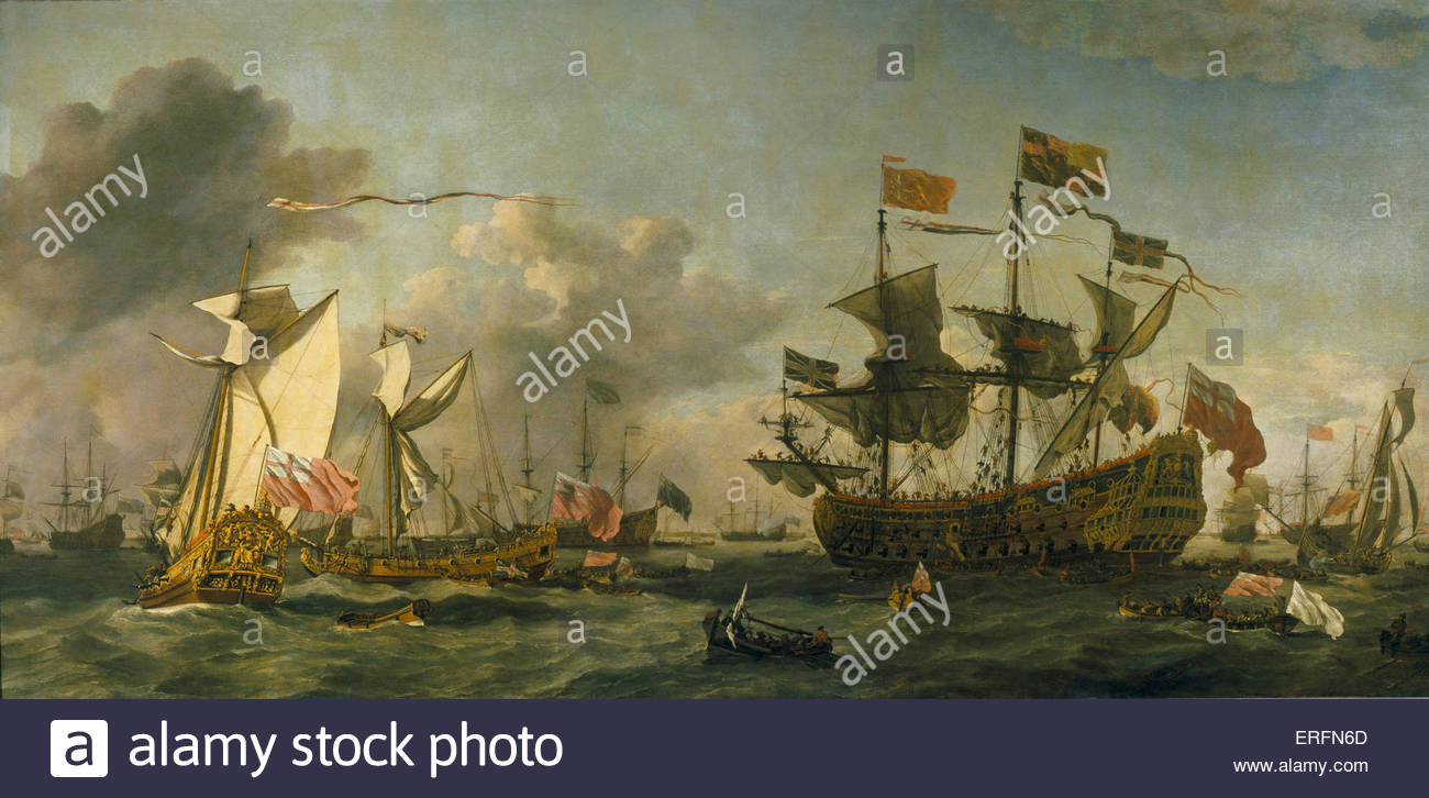 Charles II's visit to fleet at Nore, 10 September 1672 by Willem the Younger Van de Velde II Painting. Dutch - Stock Image