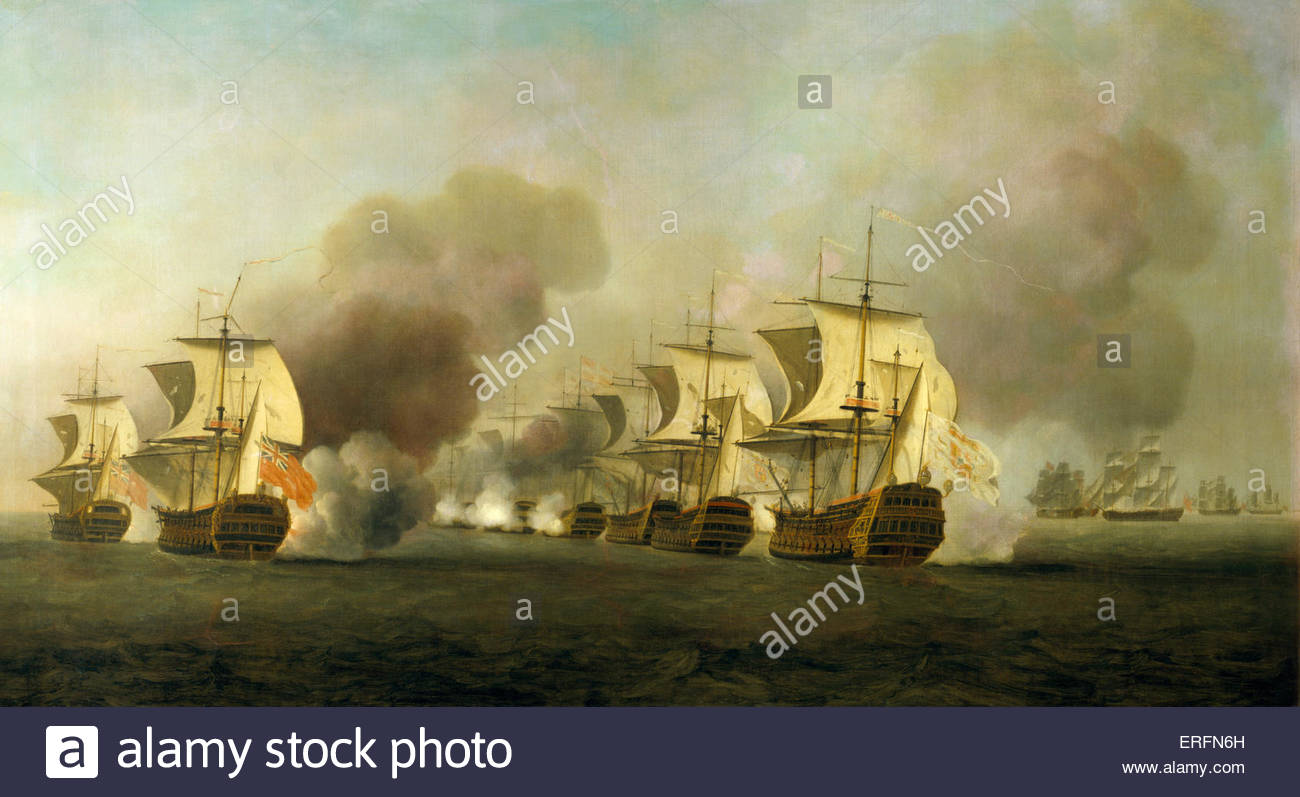 'Action off Havana' - painting by Samuel Scott. SS, English painter: 1702 - 1772. Courtesy of National Maritime - Stock Image