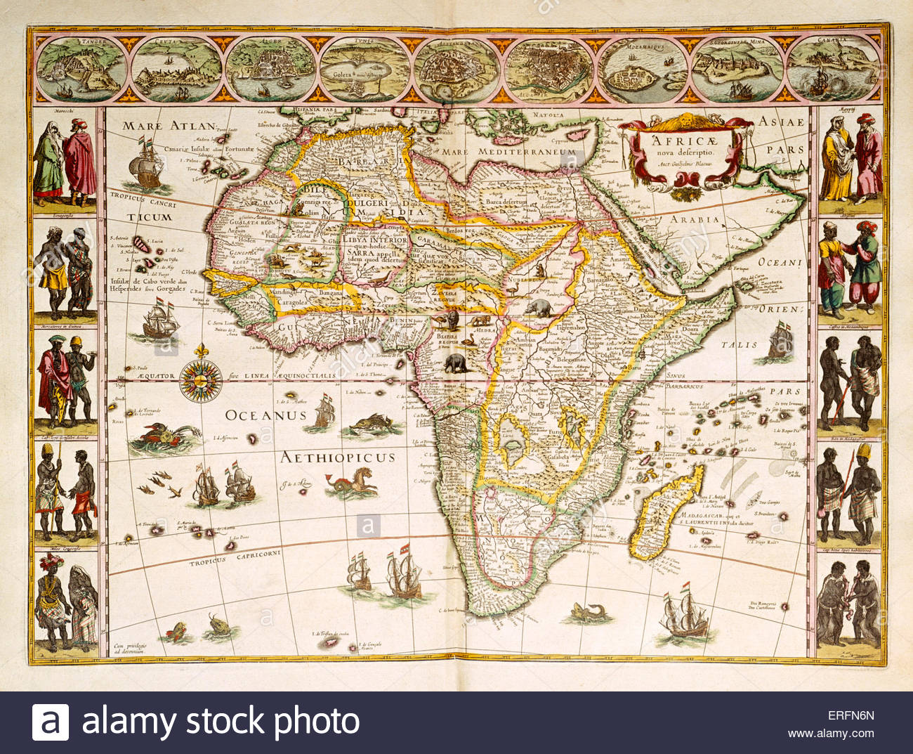 Africa 1638 Early 17th century map by Dutch cartographer Willem Blaeu (1571 - 21 October 1638).   Courtesy of the - Stock Image