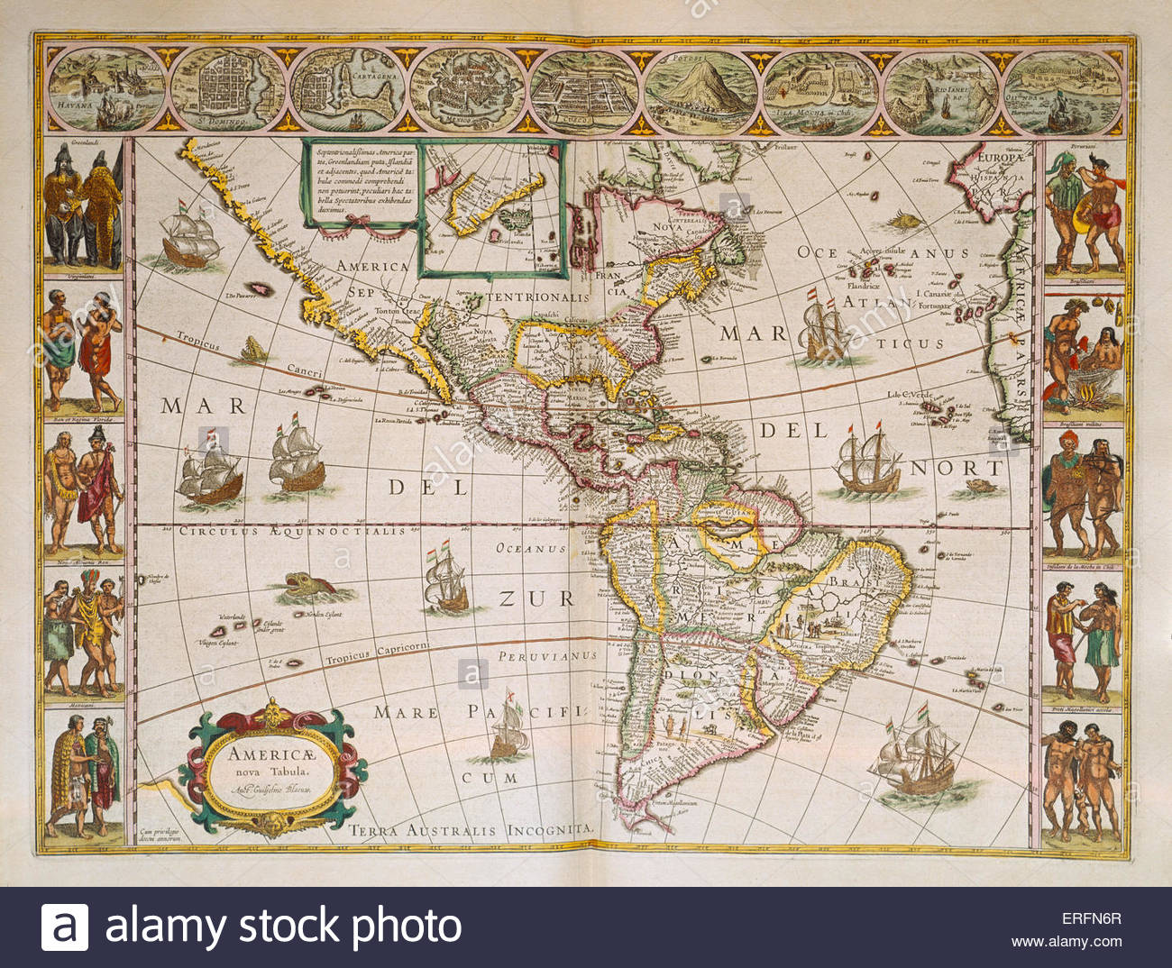 America 1638 Early 17th century map by Dutch cartographer Willem Blaeu (1571 - 21 October 1638).   Courtesy of the - Stock Image